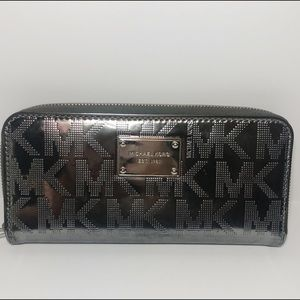 Michael Kors Signature Mirror Metallic Zip Wallet